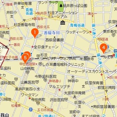 荻窪・西荻窪・吉祥寺のカフェマップ