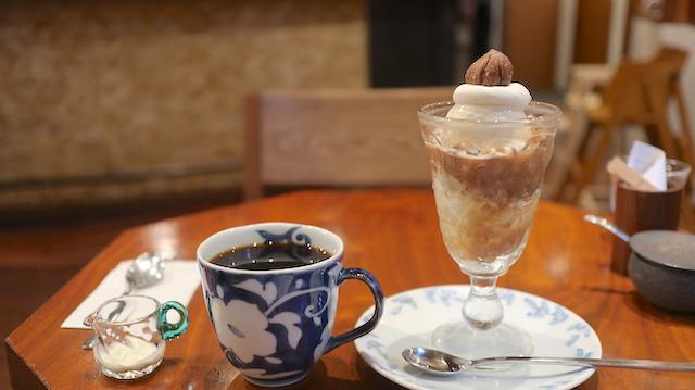 モンブランパフェ とコーヒー 堀口珈琲 世田谷店