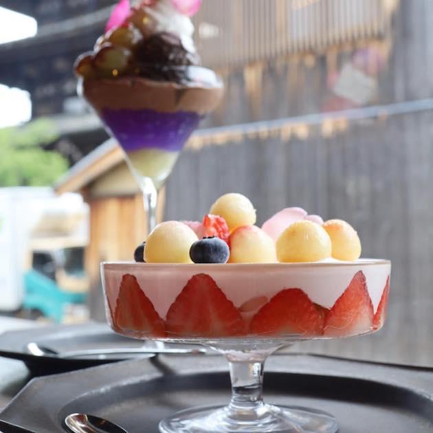 桃といちごのパルフェとピオーネとアールグレイショコラのパルフェ DORUMIRU.yasakanotou