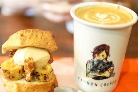 キャラメルバナナスコーンサンドとソイラテ KANNON COFFEE motoyama