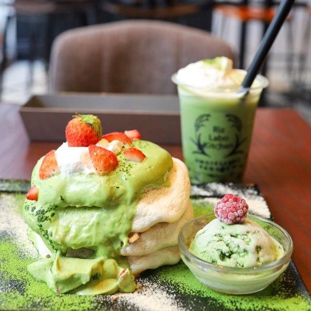 宇治抹茶のパンケーキと抹茶タピオカドリンク Riz Labo Kitchen