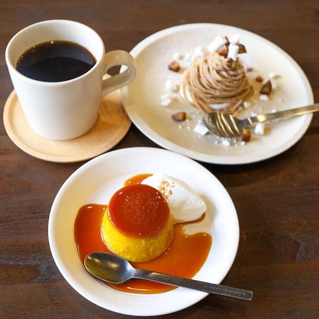 プリンとモンブランとコーヒー aminchi