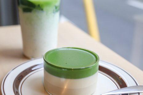 抹茶プリンと抹茶ラテ Saten japanese tea